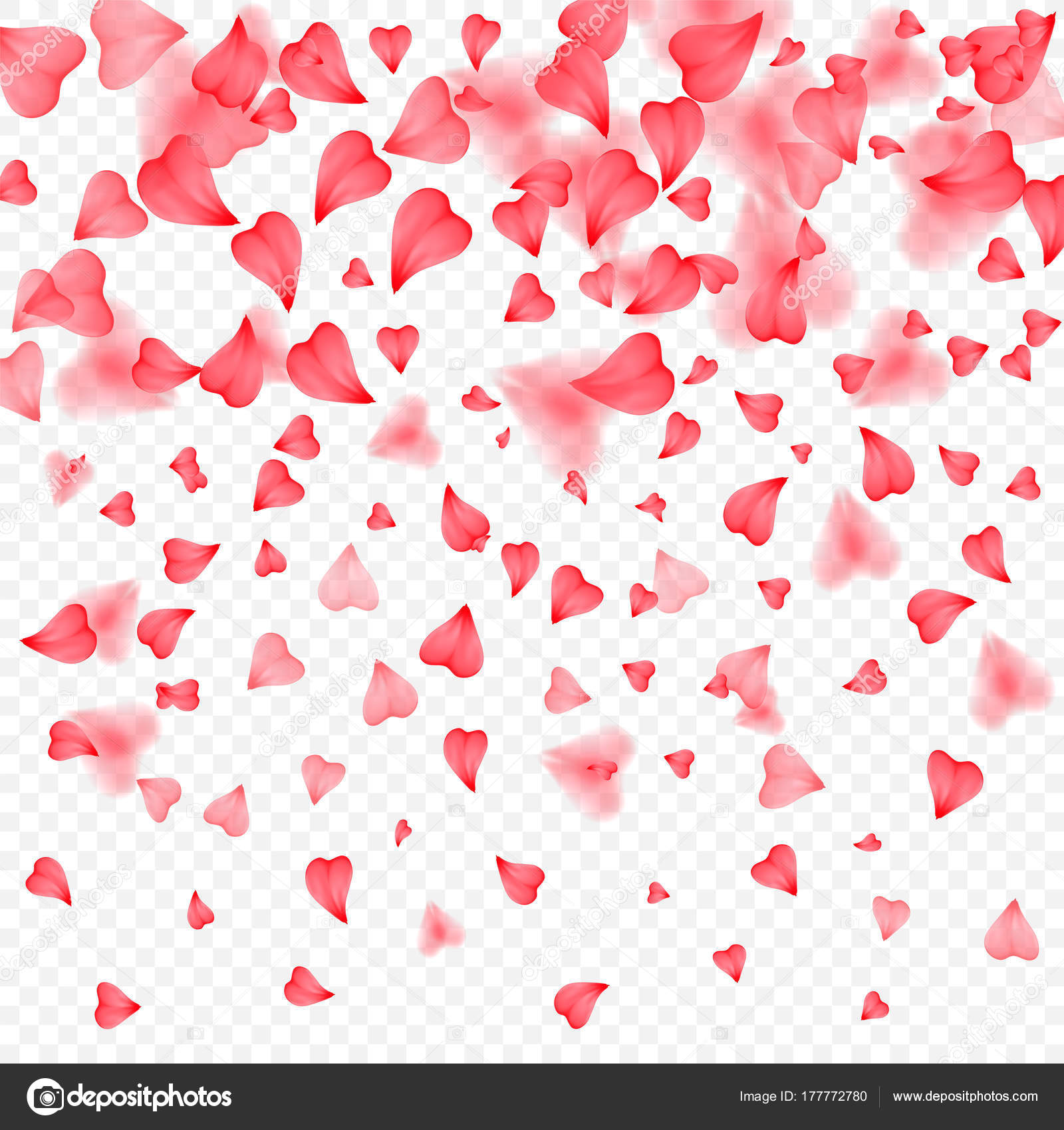 Valentines Day romantic background of red hearts petals falling ...