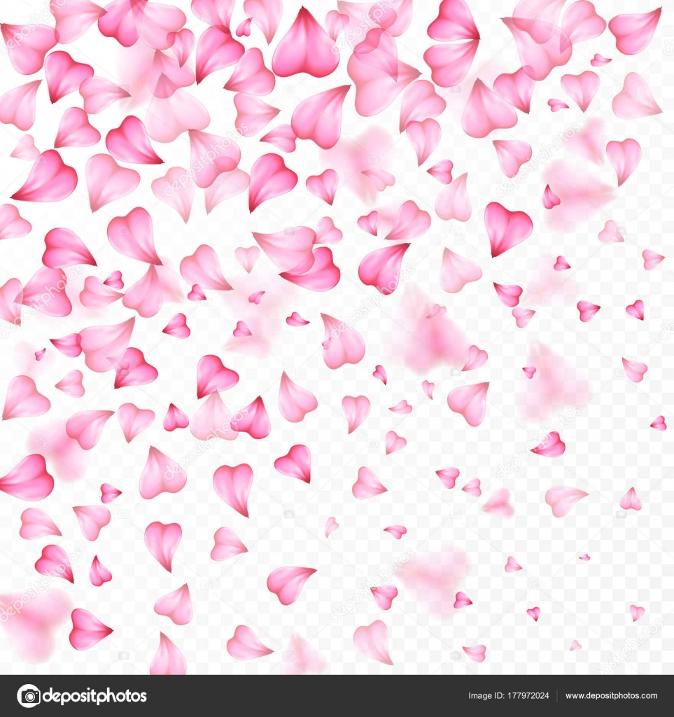 Valentines Day romantic background of pink hearts petals falling ...