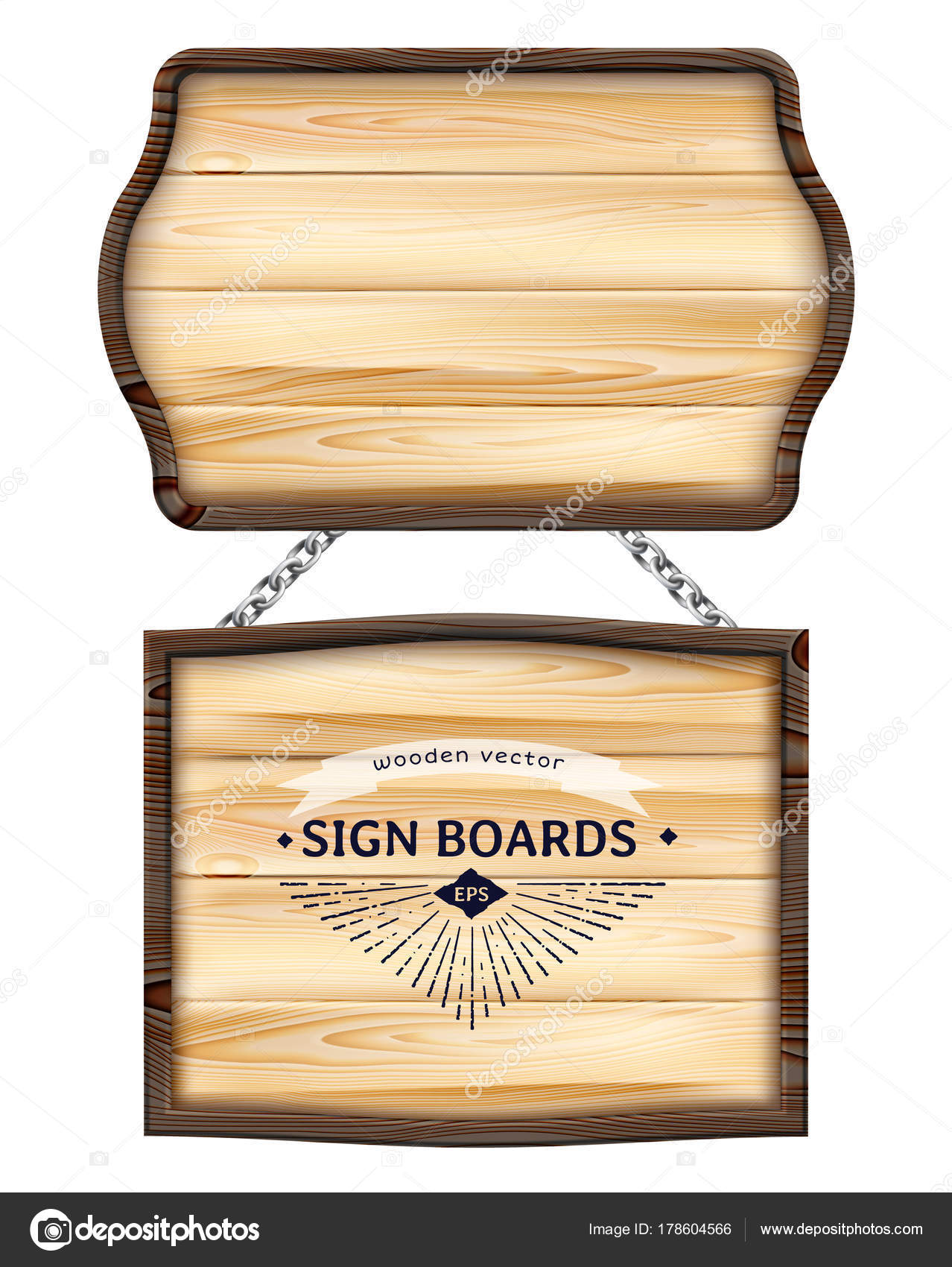 Realistic Wooden Signboards Or Wood Plank With Dark Frame Old Blank