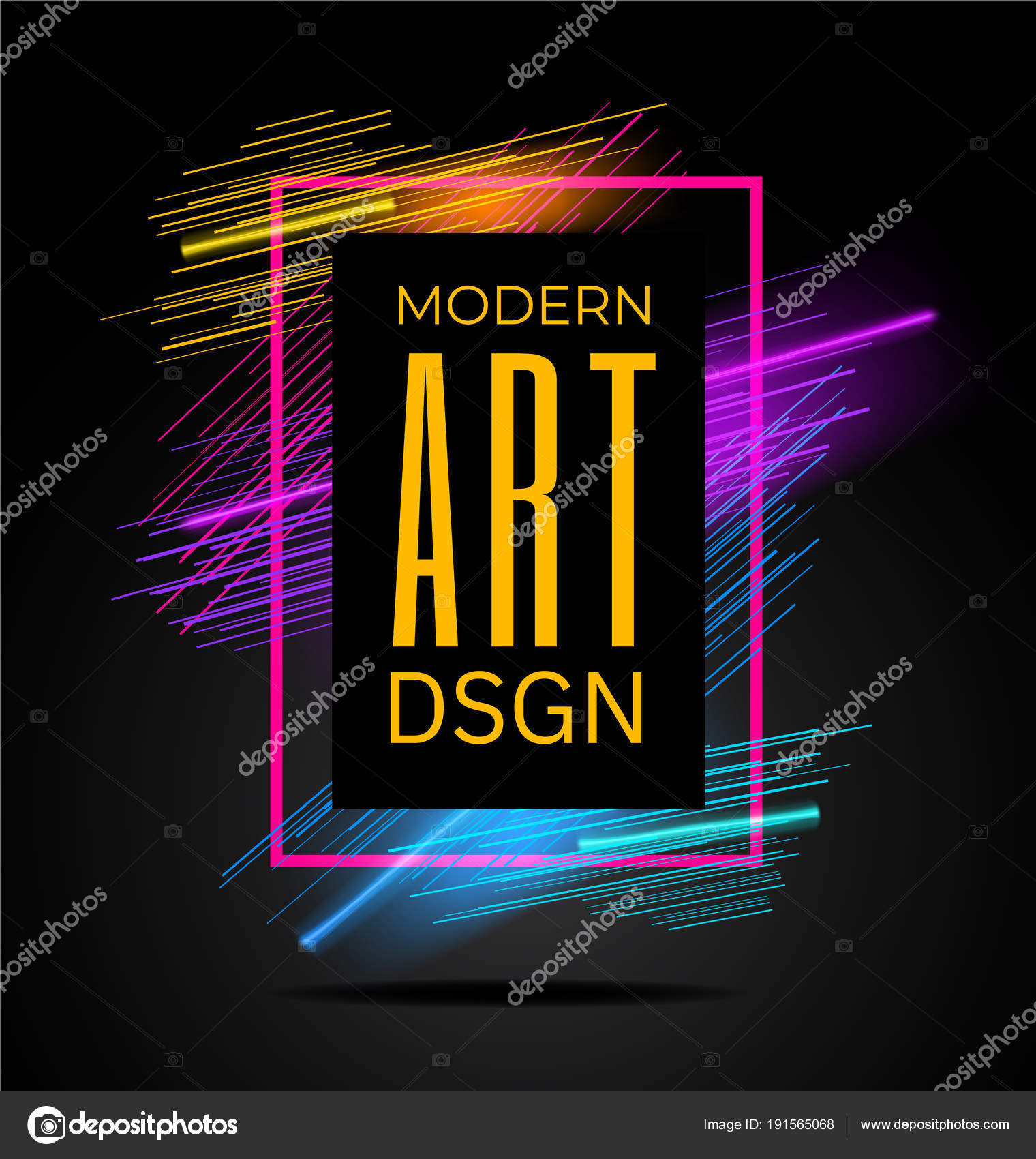 vector modern frame with geometric neon glowing lines isolated on