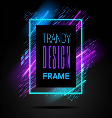 Vector modern frame with geometric neon glowing lines isolated on black background. Art graphics with glitch effect. Design element for business cards, gift cards, invitations, flyers, brochures