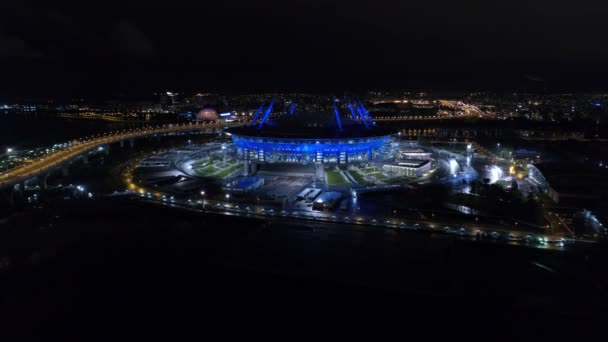 Aerial video of Saint Petersburg stadium, also called Zenit Arena, FIFA Confederations Cup 2017, 2018 FIFA World Cup, Russia, Saint Petersburg, September 30, 2017