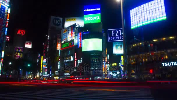 Night lapse 4K resolution at Shibuya crossing  / Shibuya-ku Tokyo/Japan -  10 23 2017: Its a city location in Tokyo  4K&time lapse  camera : Canon EOS  7D