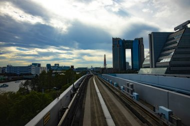 A front point of view on the railway at Yurikamome line in Tokyo