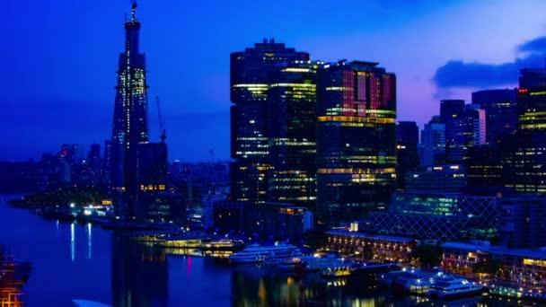 A napkelte időzónája öböl területén Darling kikötő Sydney nagy látószögű széles lövés zoom
