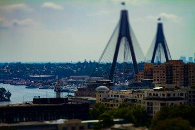 A miniature traffic jam at Anzac bridge in Sydney high angle tiltshift