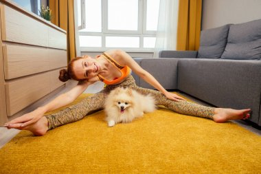 redhaired ginger woman in a stylish top and leggings doing yoga asana twine legs stretching splitsat day light living room on the yellow carpet with her cute white fluffy spitz