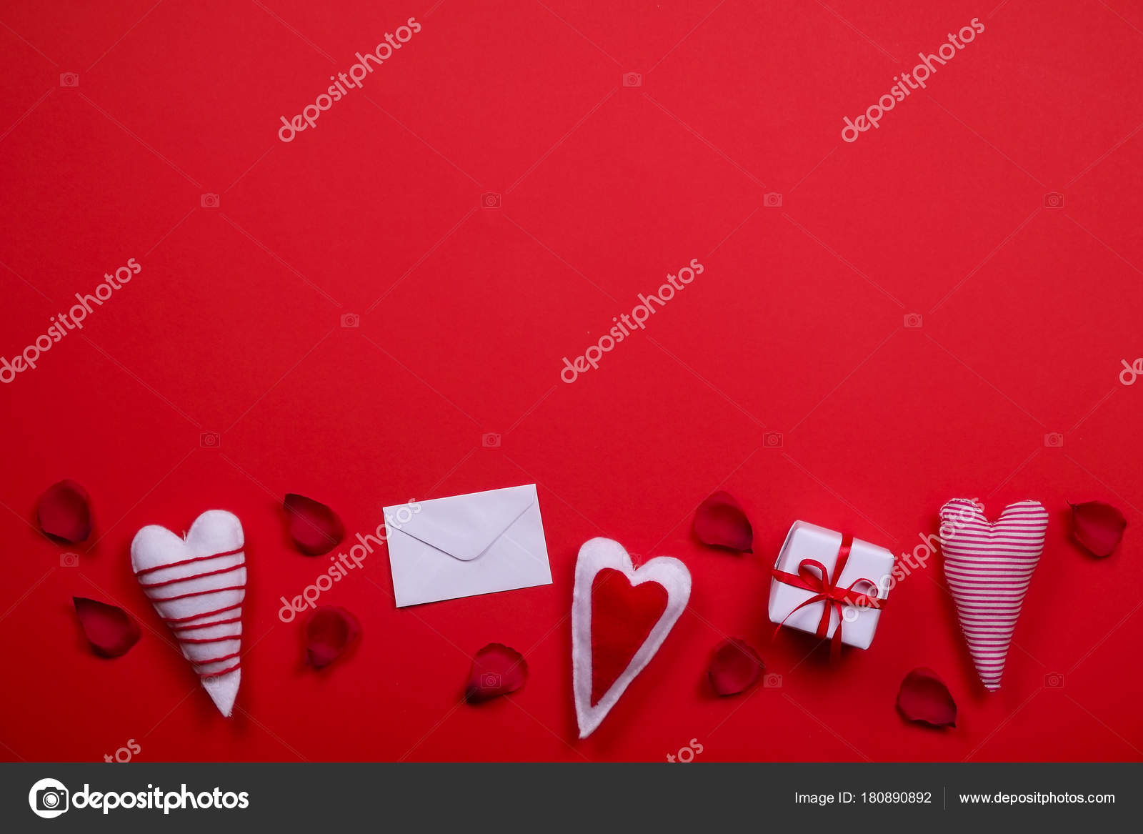 Happy Valentines Day Love Symbols Concept On Bright Red Background