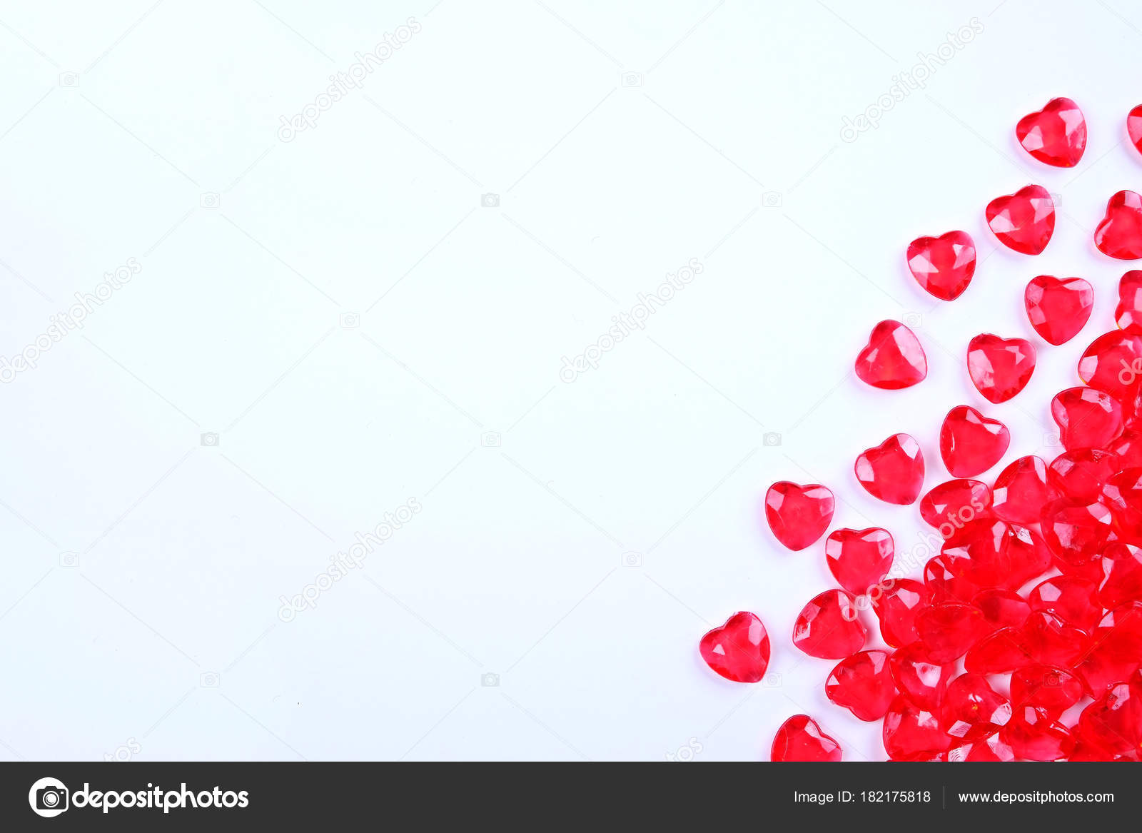 Red Pink Heart Candies Scattered Around On White Background Lovers