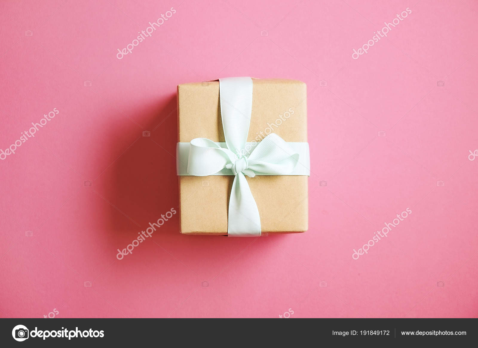 Rustic Composition With Beautiful Present In Craft Paper Wrapping