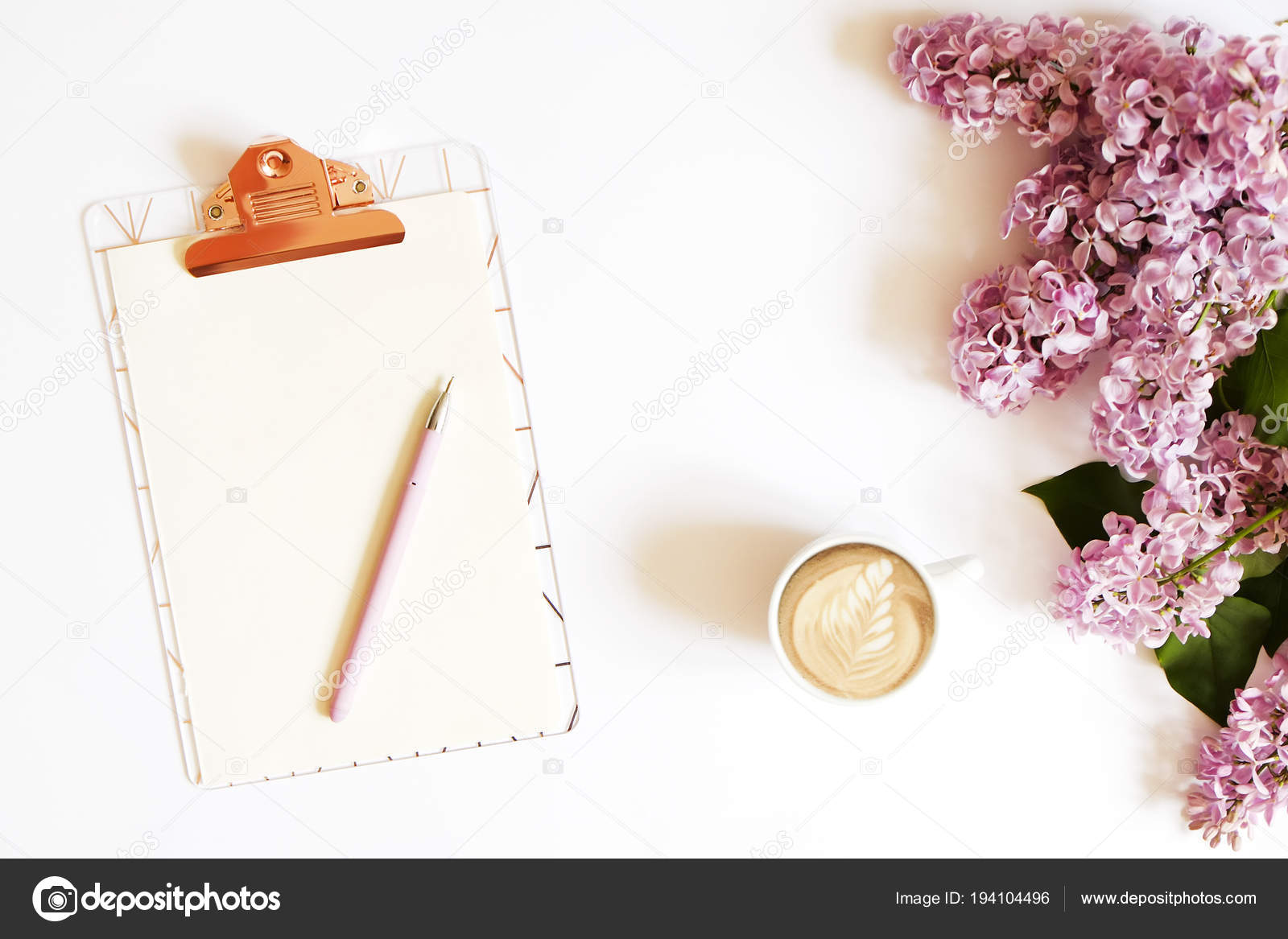 ... Cup Of Coffee, Pink Pen U0026 Lilac Flowers In Minimal Arrangement On White  Table Top Background. Feminine Flat Lay Composition W/ Purple Bouquet.