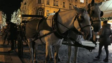 Horse carriage in the old town of Prague during Advent at Night