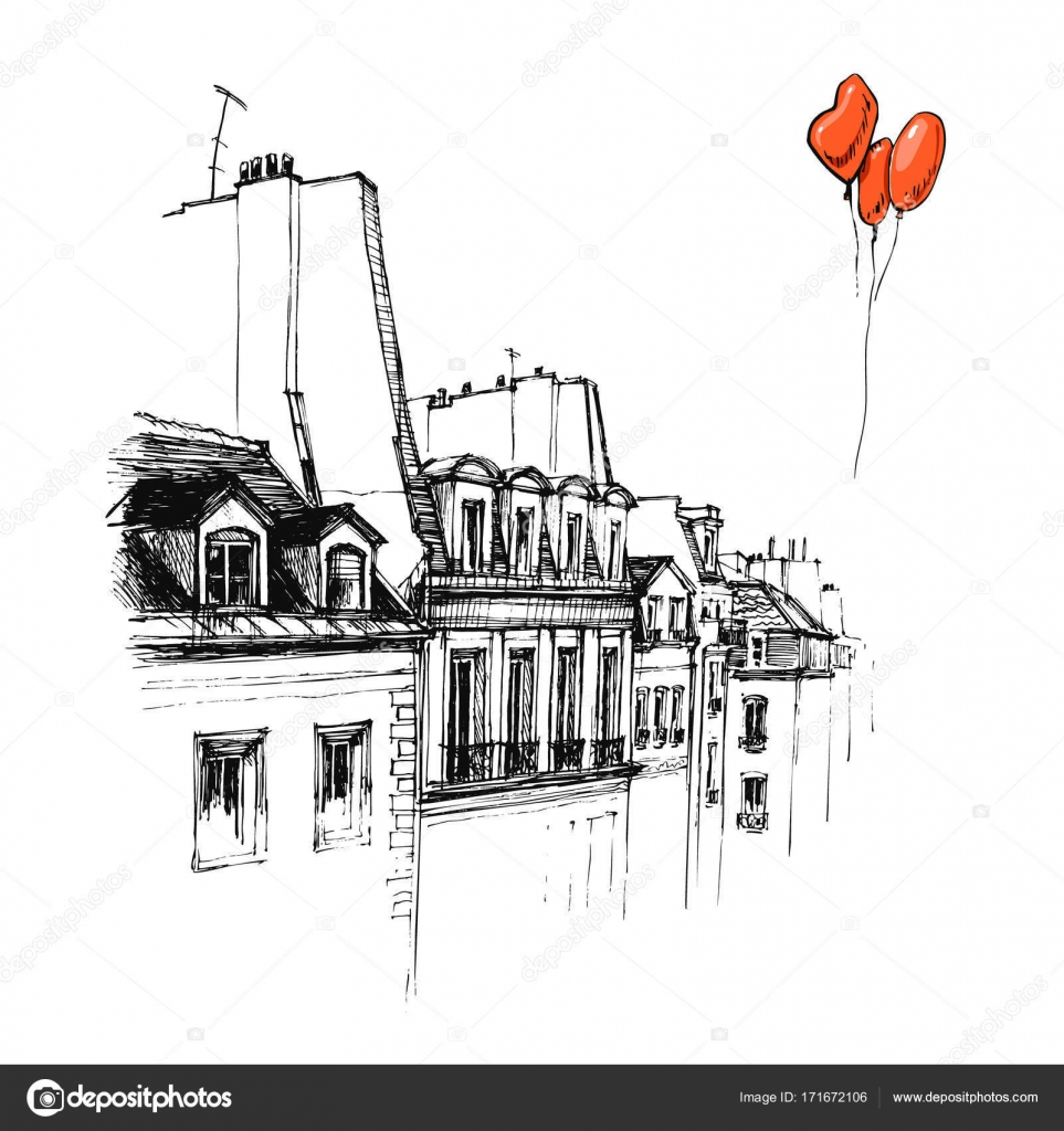 Dibujado A Mano El Techo De París Croquis Urbano Techo