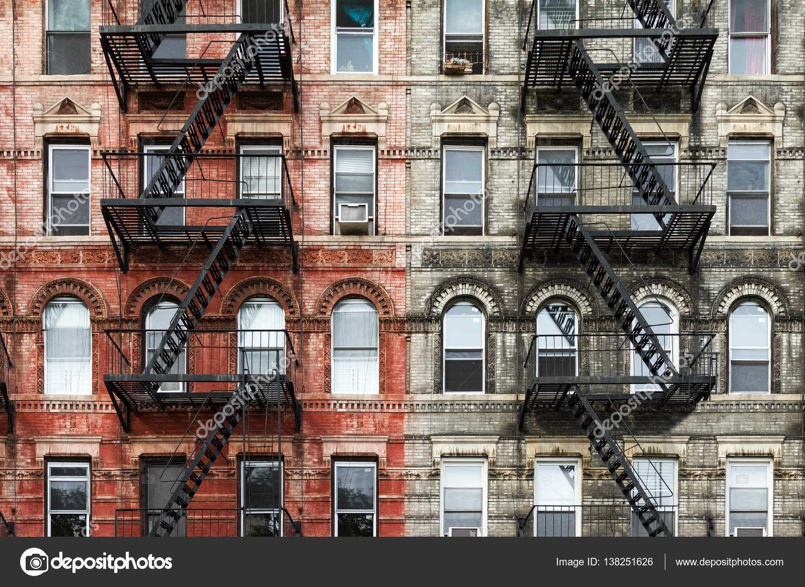 brick apartment building. Old Brick Apartment Buildings in New York City  Stock Photo