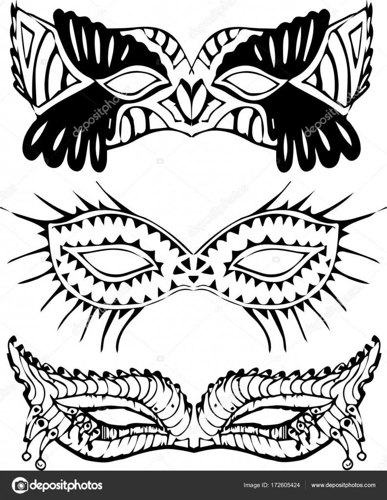 Set colección de máscaras de la mascarada de carnaval negro — Vector ...