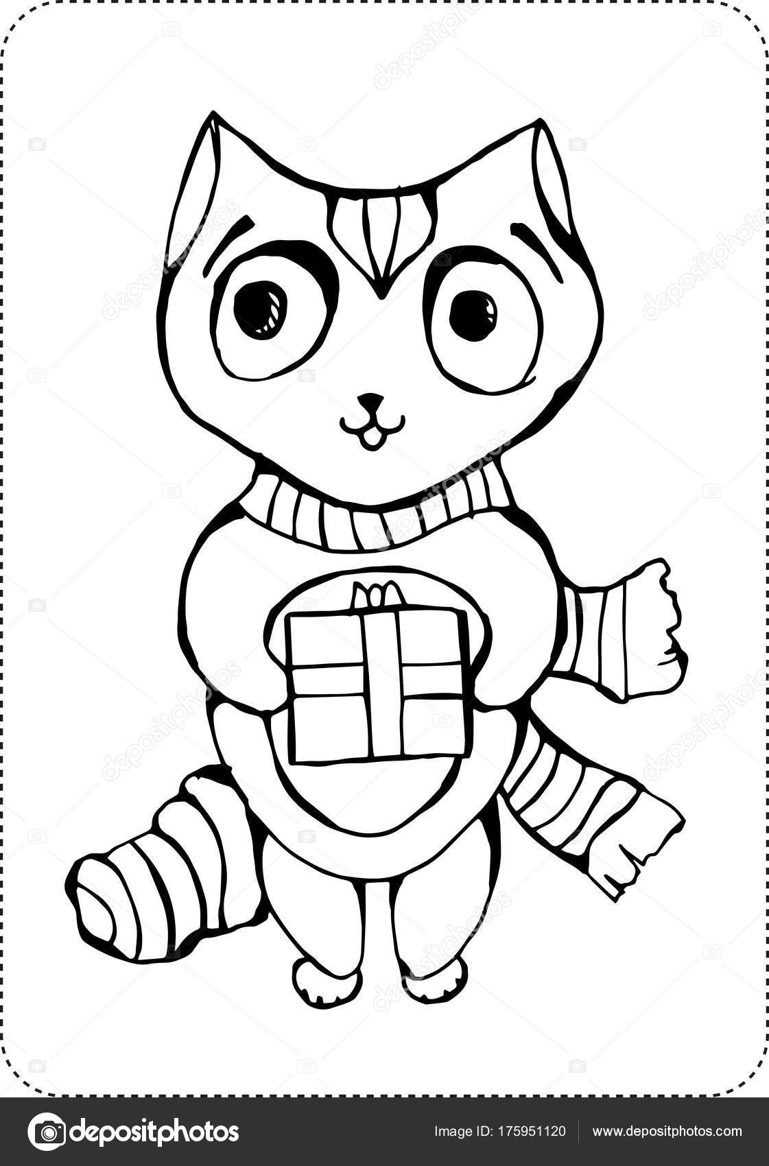 Coloriage Chat Noel.Page De Coloriage Chat Noel Image Vectorielle Klllane C 175951120