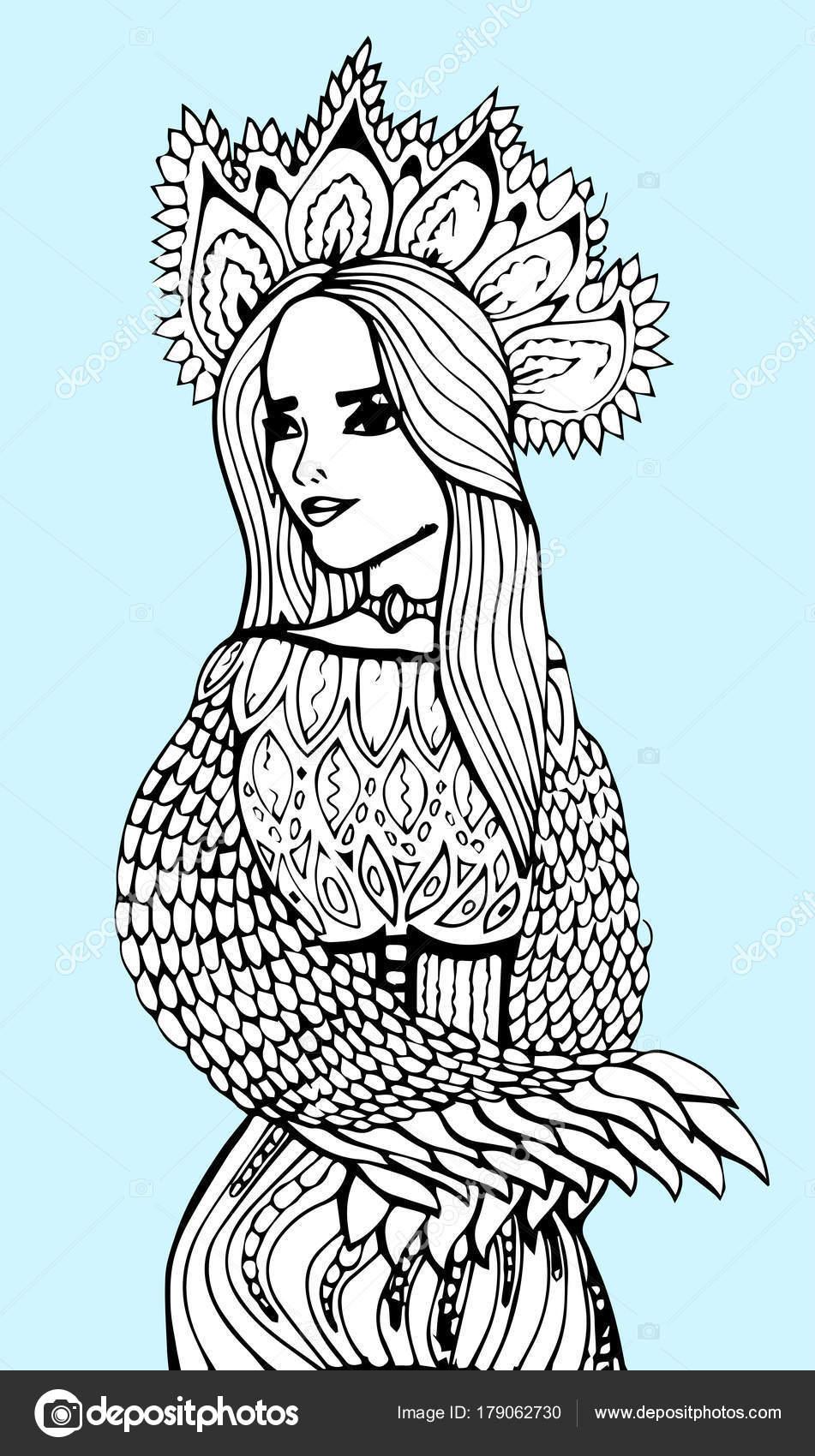 Sehr elegante Mädchen, Blumenkranz. Malvorlagen Buch für Erwachsene ...