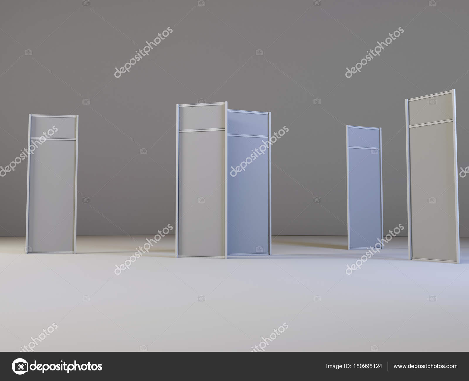 Lcd Display Expo Stands Different Angles White Blank Lcd