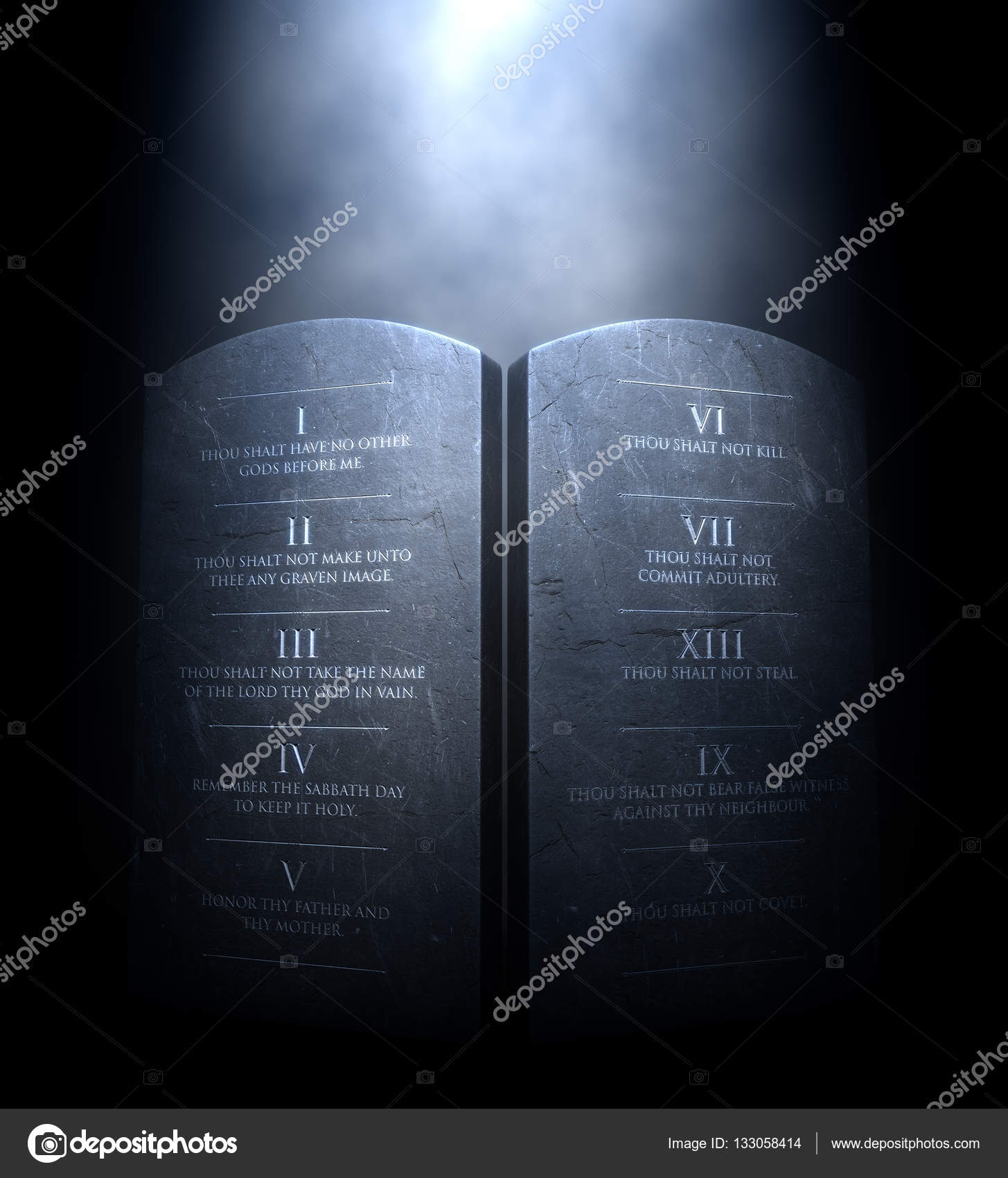 A 3D Render Of Two Stone Tablets With The Ten Commandments Etched On Them Lit By Dramatic Spotlight Dark Background Photo Albund