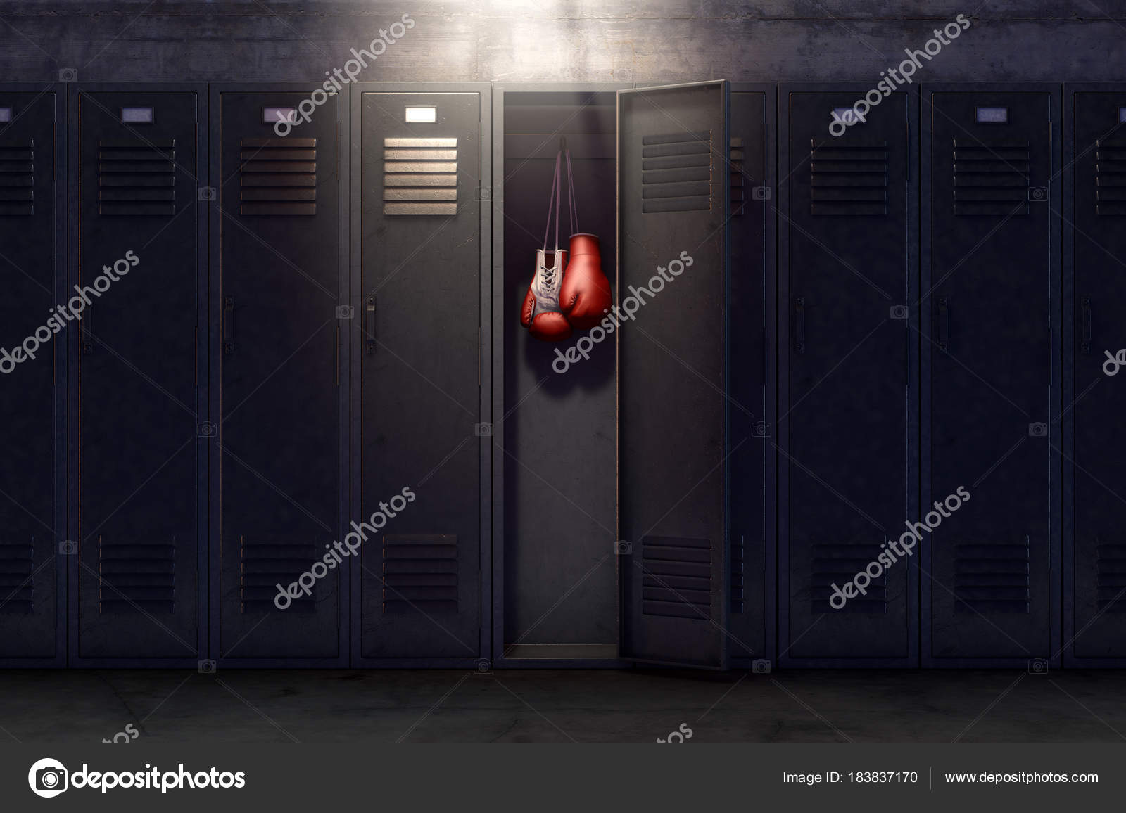 A Row Of Metal Gym Lockers With One Open Door Revealing That It Has Pair Boxing Gloves Hanging Up Inside