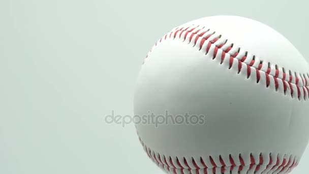Rotate isolated baseball on a white background and red stitching baseball. copy space.