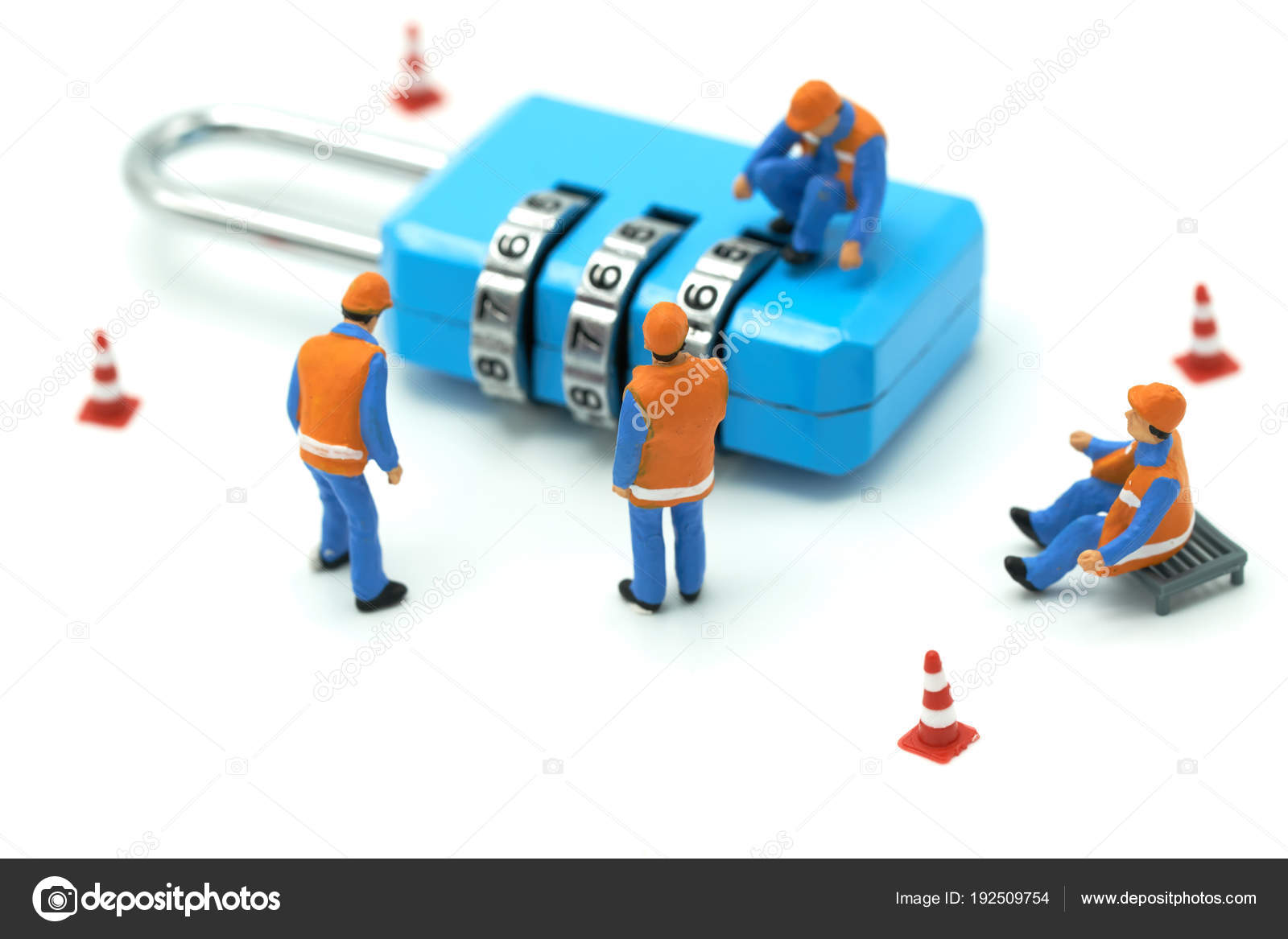 Miniature People Construction Worker Security Key Repair