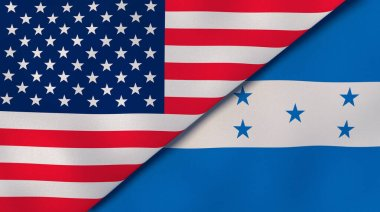 Two states flags of United States and Honduras. High quality business background. 3d illustration