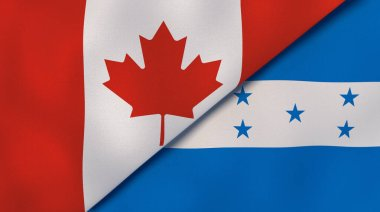 Two states flags of Canada and Honduras. High quality business background. 3d illustration