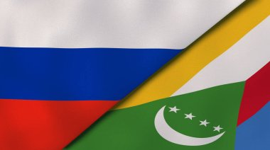 Two states flags of Russia and Comoros. High quality business background. 3d illustration