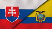Dvě vlajky Slovenska a Ekvádoru. Vysoce kvalitní obchodní zázemí. 3D ilustrace