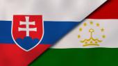 Dva státy vlajky Slovenska a Tádžikistánu. Vysoce kvalitní obchodní zázemí. 3D ilustrace