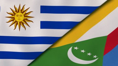 Two states flags of Uruguay and Comoros. High quality business background. 3d illustration