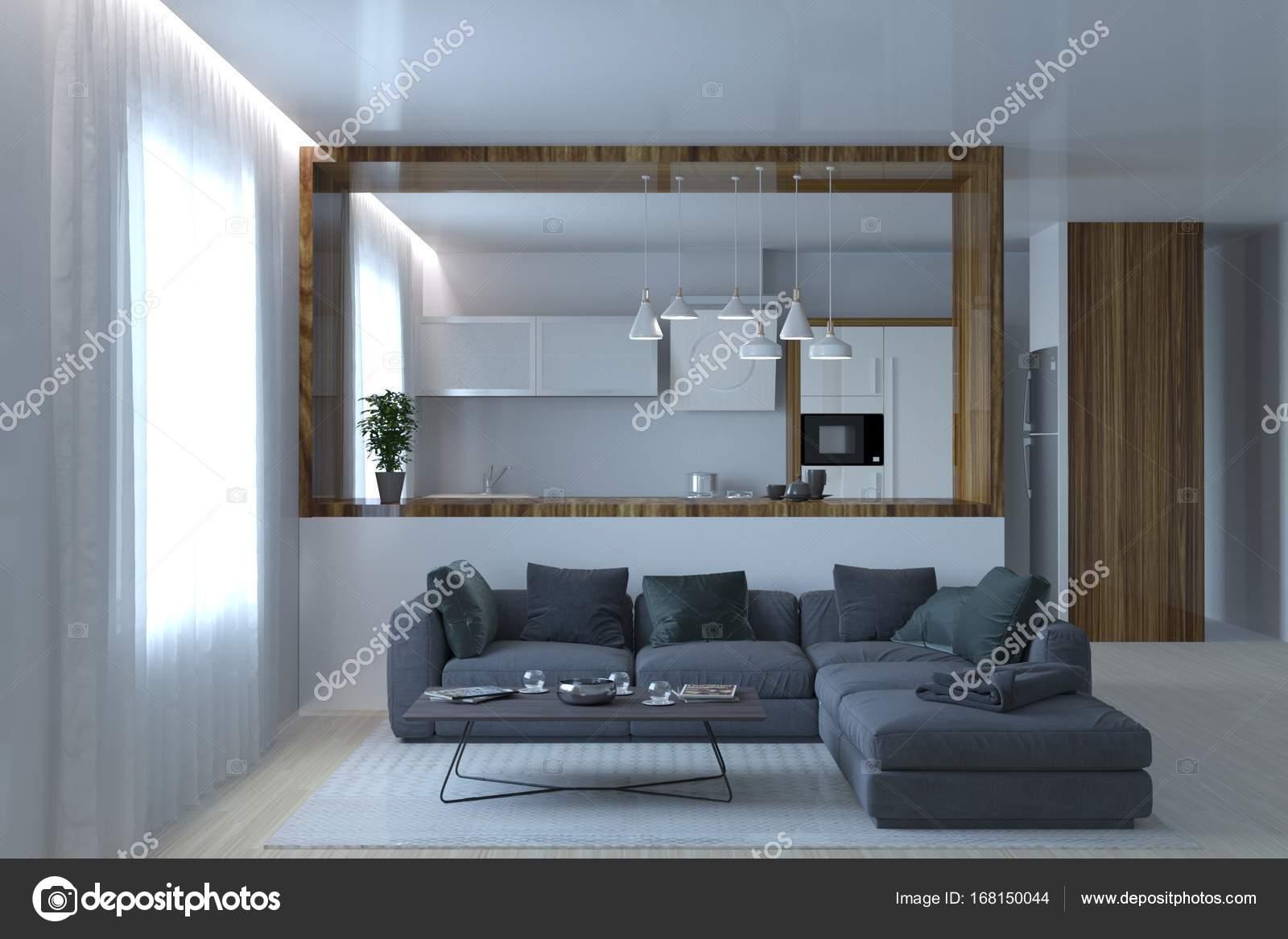 Bella cucina moderna studio con divano letto soggiorno grigio — Foto ...