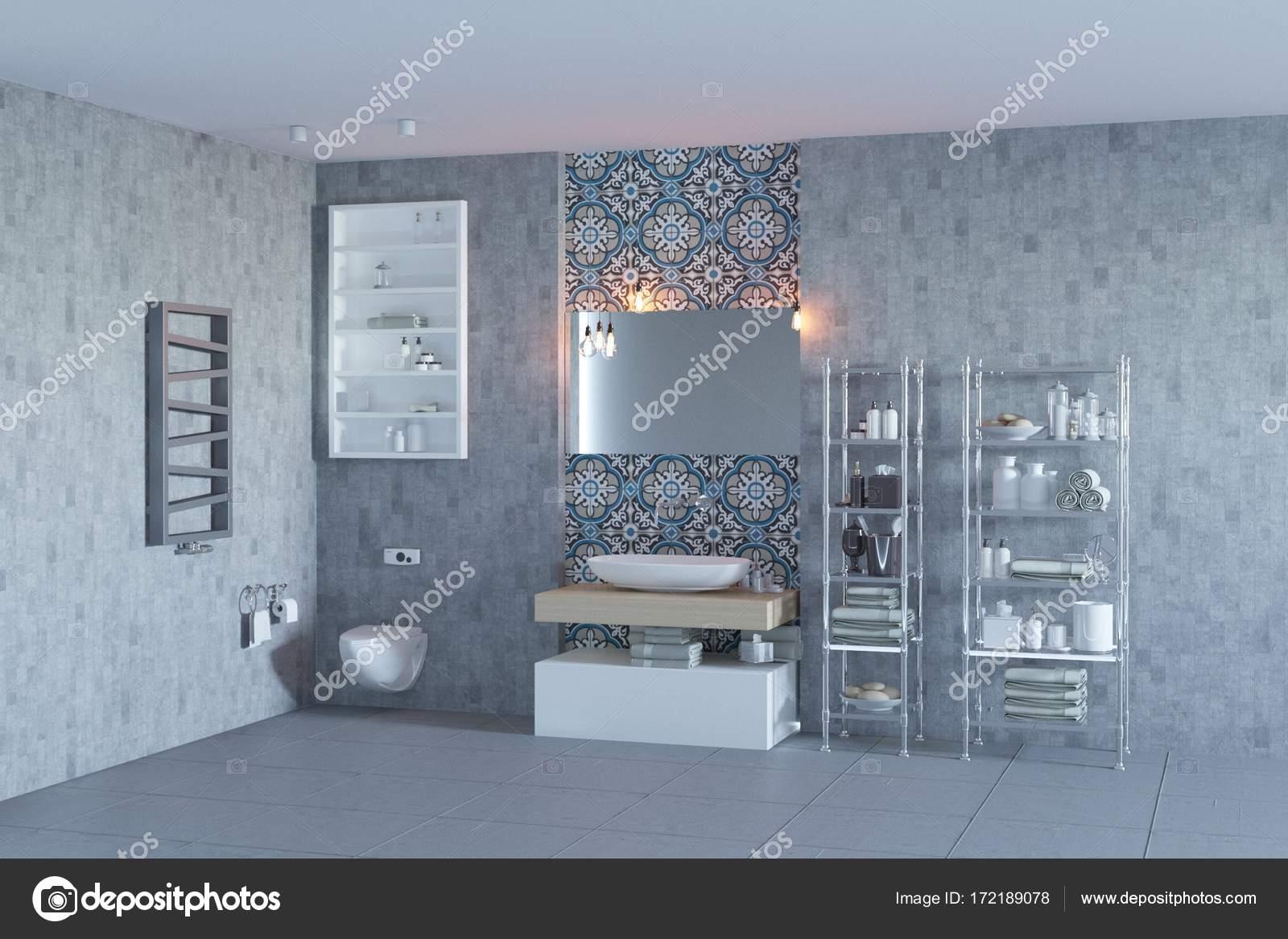 Interno bagno minimalista con piastrelle marocchine u foto stock