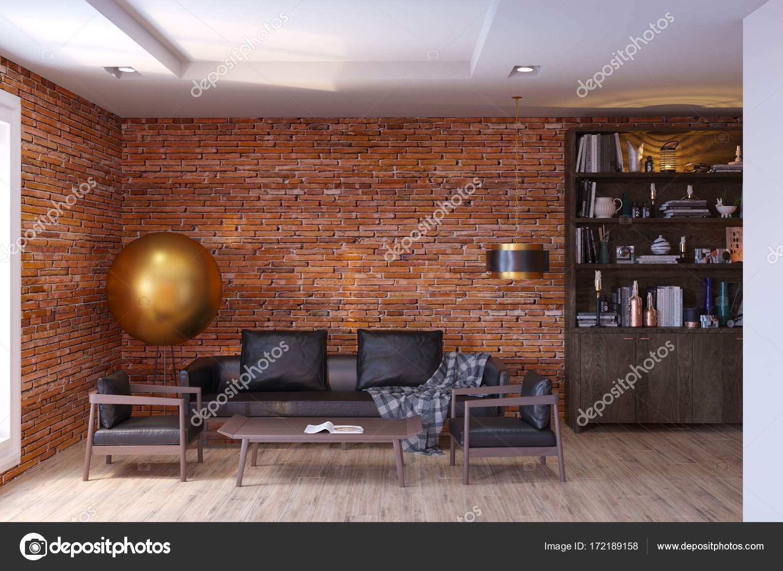 Zeitgenössische Wohnzimmer Interieur mit Backstein-Mauern ...
