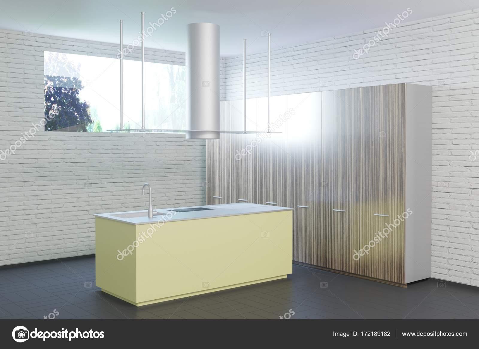 Hightech Kuche Interieur Mit Schwarzem Fussboden Stockfoto