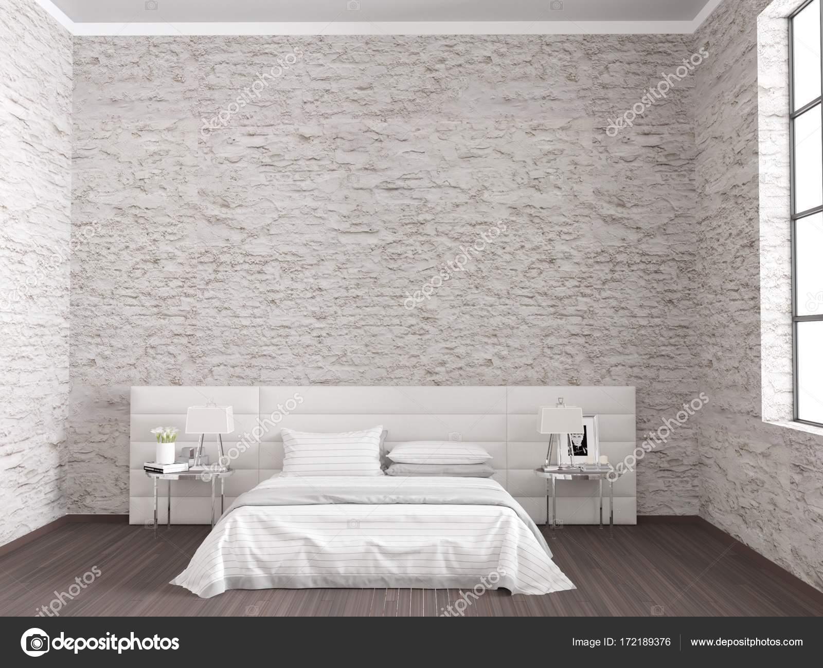 Camera Da Letto Bianca Pareti : Camera da letto bianca in mattone pareti loft interior u foto