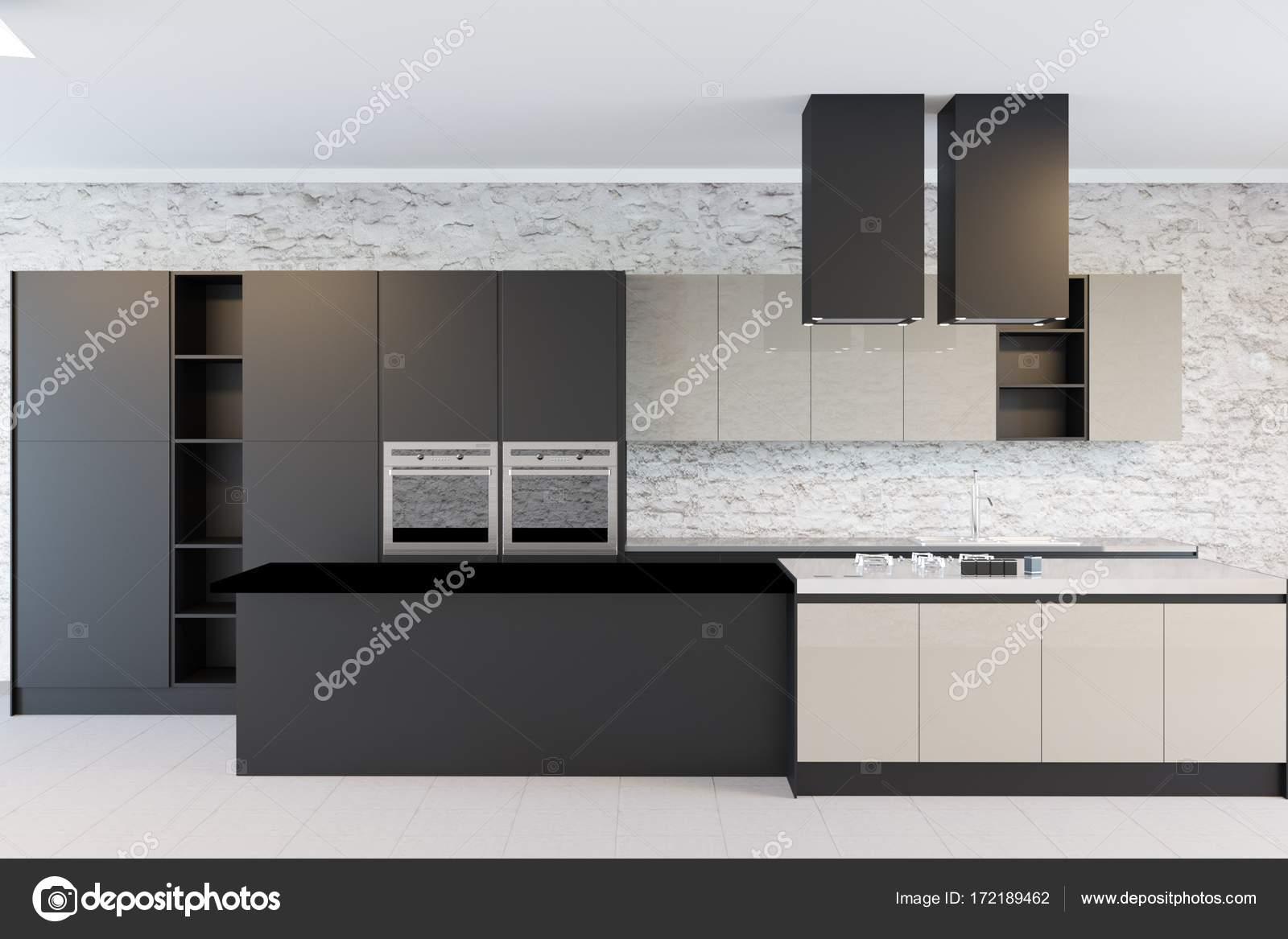 Minimalistisch zwart wit keuken in bakstenen muur interieur