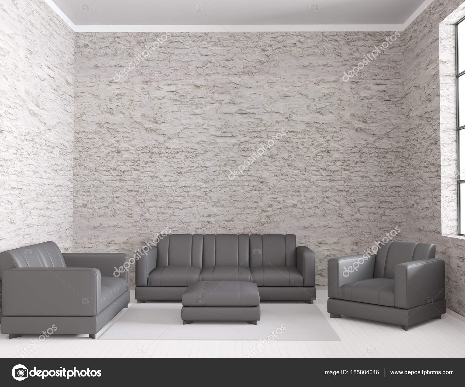 Cool 3D Rendering Of Loft Living Room Interior With Leather Sofa Pabps2019 Chair Design Images Pabps2019Com