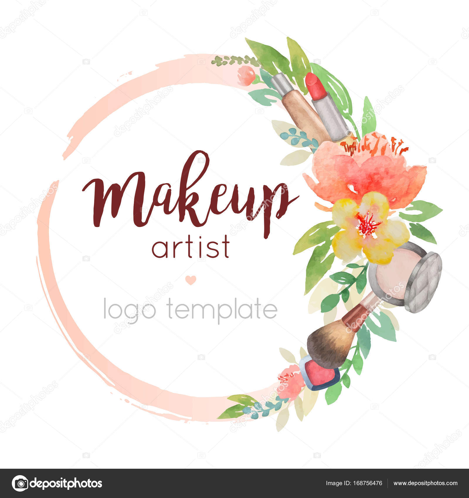 Makeup Artist Watercolor Logo Template With Flower Decor Stock