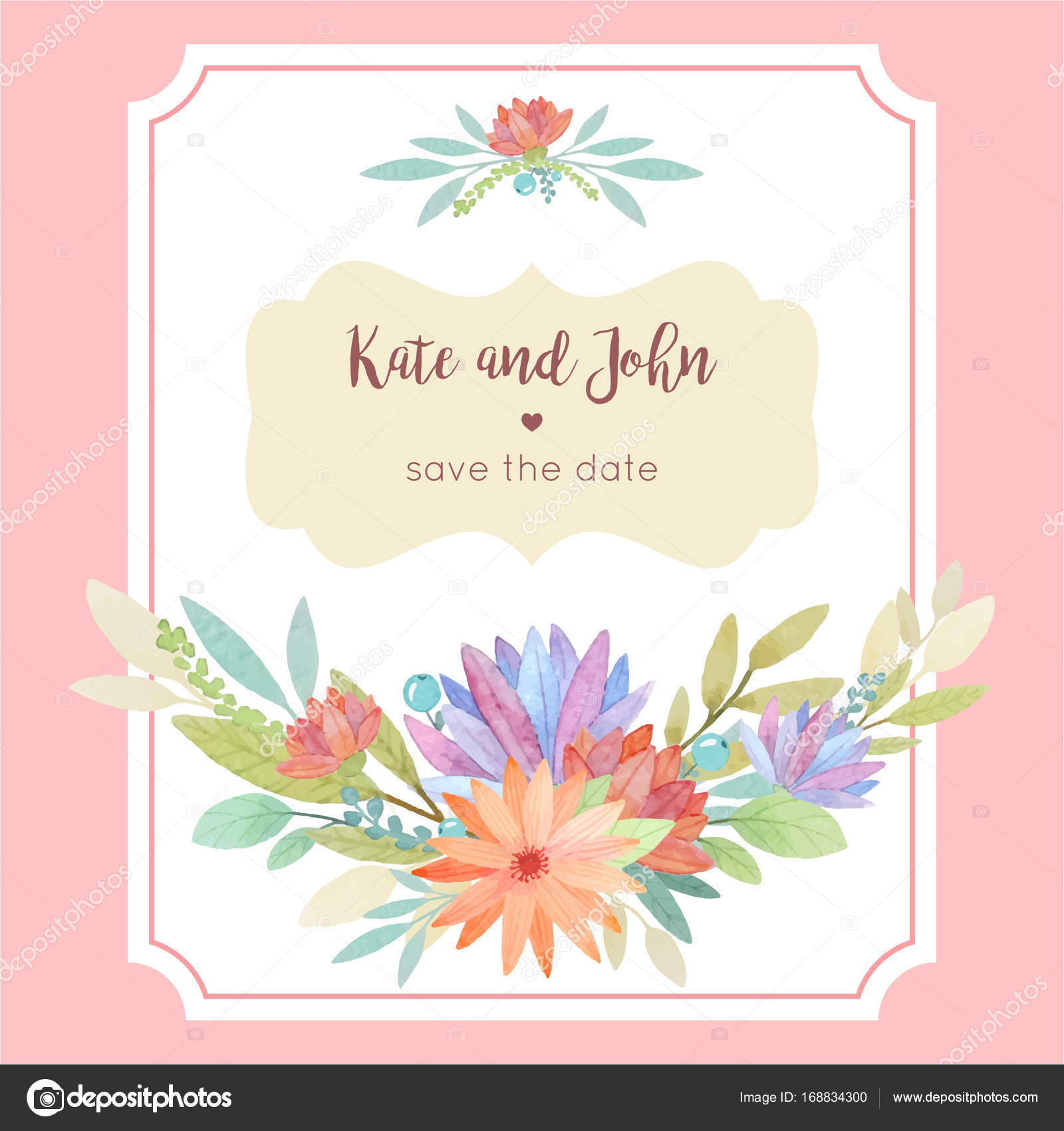 Watercolor floral wedding invitation card template with frame an ...