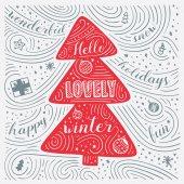 Scheda di inverno. Il Lettering - inverno bella ciao. Capodanno / Natale Design. Reticolo di turbinio scritte a mano