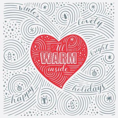 Winter Card. The Lettering - All Warm Inside. New Year / Christmas Design. Handwritten Swirl Pattern.