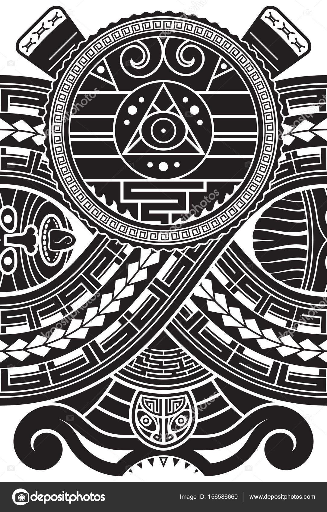 Patrón De Estilo Azteca Plantilla De Impresión étnicos Para Textil