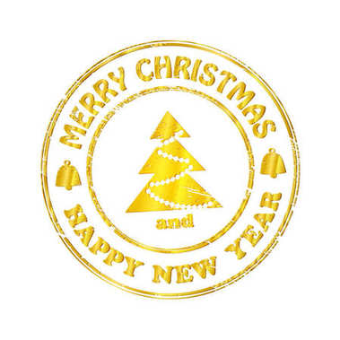 Isolated Stamp Christmas and Happy New Year Greeting Banner