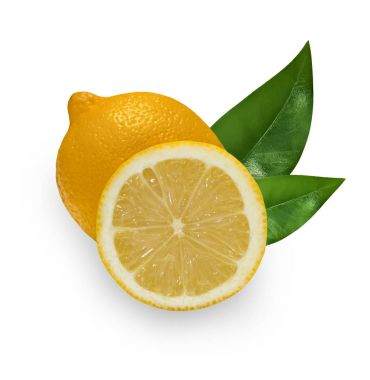 One whole lemon and slice isolated. Fresh lemon with green leave