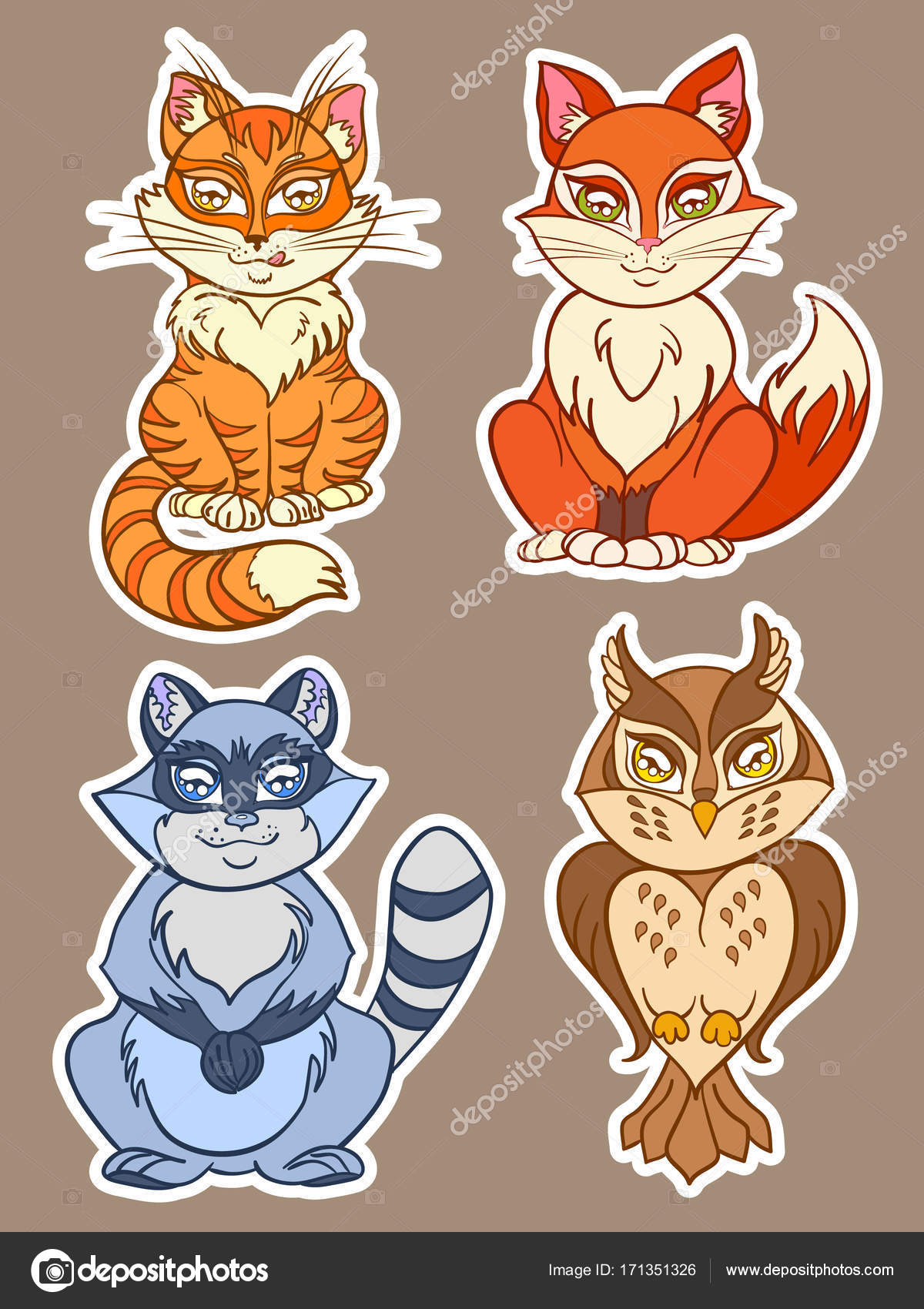 Cute Animals Set Isolated Vector Animals In Cartoon Style Including