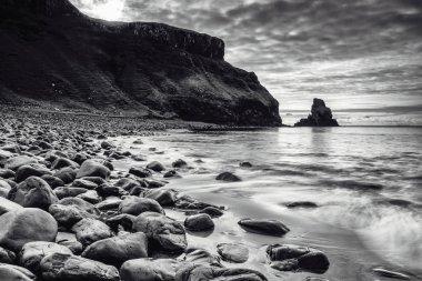 Talisker Bay, Isle of Skye, black and white landscape