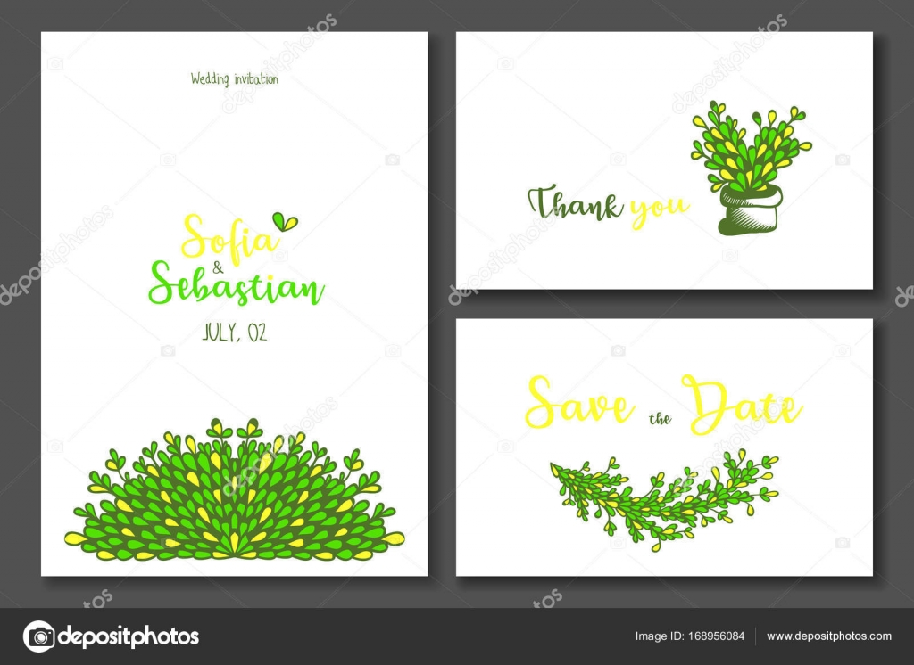 yellow green wedding invitation stock vector totamilow 168956084