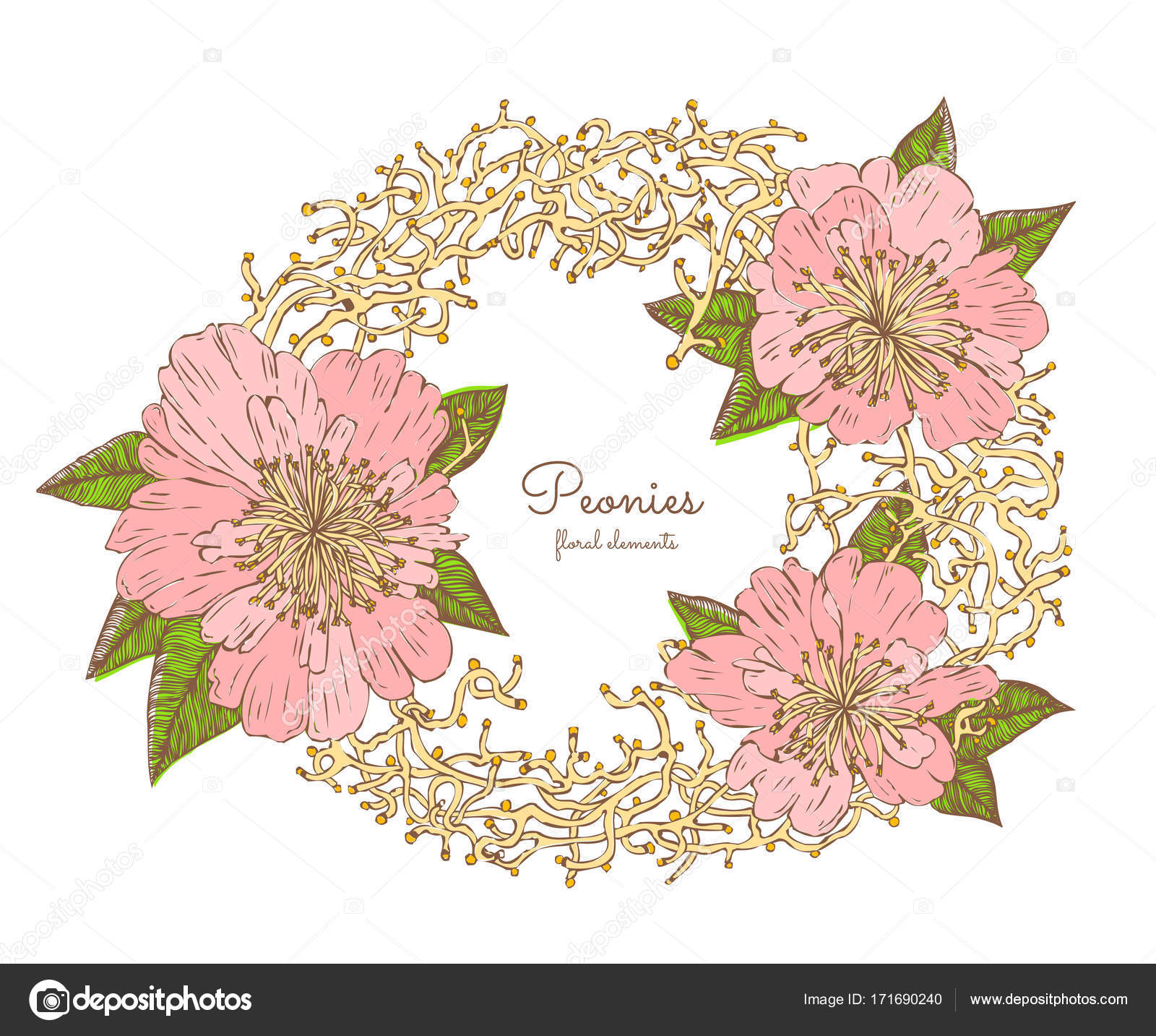 Wreath With Blooming Peonies And Sprigs Element For Invitations